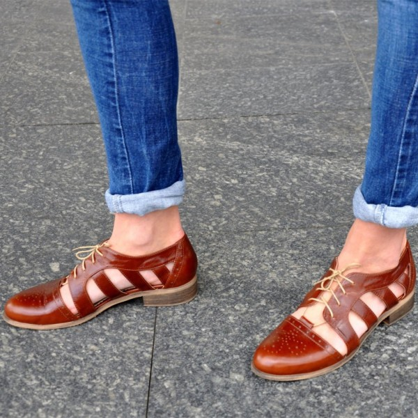 Brown Comfortable Shoes Round Toe Lace up Women's Oxfords image 2