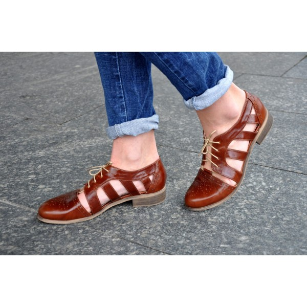 Brown Comfortable Shoes Round Toe Lace up Women's Oxfords image 4