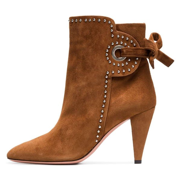 ef04ebb6af4a Brown Cone Heels Suede Back Lace up Ankle Booties By FSJ for Party ...