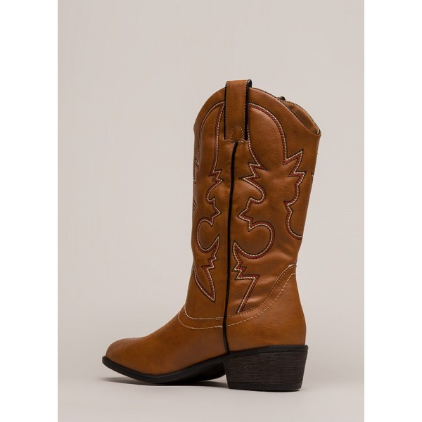 Brown Cowgirl Boots Studs Low Heel Mid Calf Boots image 3