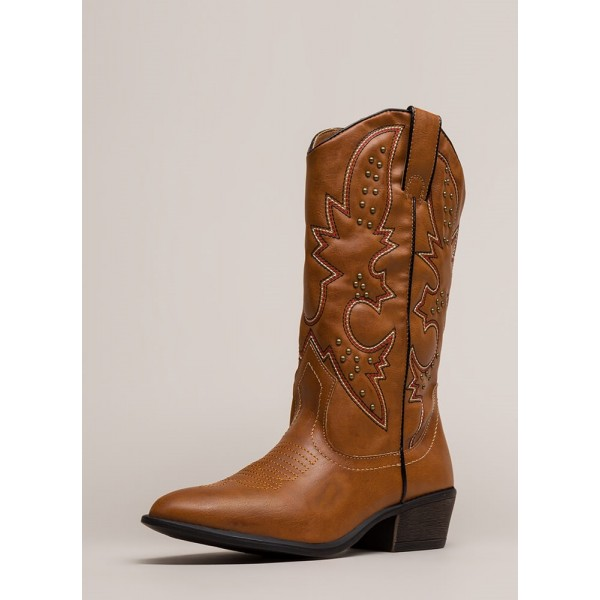 Brown Cowgirl Boots Studs Low Heel Mid Calf Boots image 2