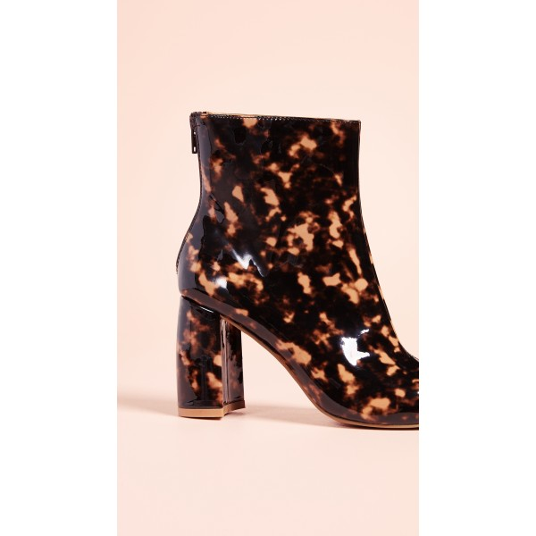 Brown Floral Chunky Heel Square Toe Fashion Zipper Ankle Booties image 3