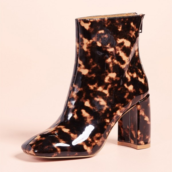 Brown Floral Chunky Heel Square Toe Fashion Zipper Ankle Booties image 2