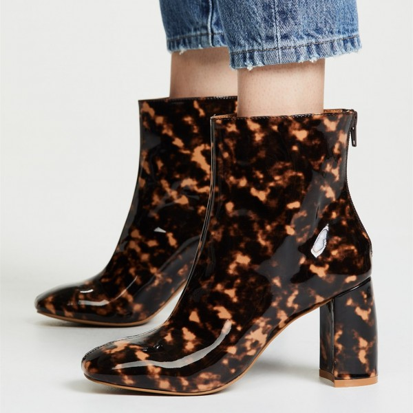 Brown Floral Chunky Heel Square Toe Fashion Zipper Ankle Booties image 1