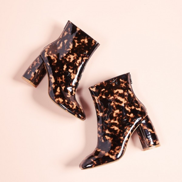 Brown Floral Chunky Heel Square Toe Fashion Zipper Ankle Booties image 4