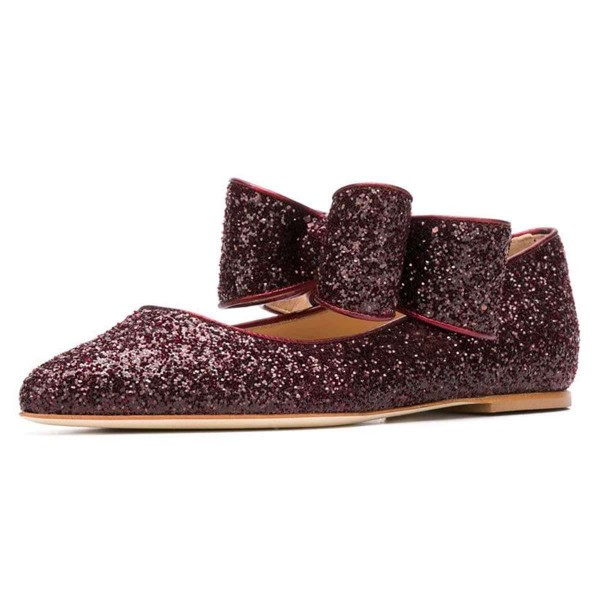 Brown Glitter Bow Pointy Toe Comfortable Flats  image 1