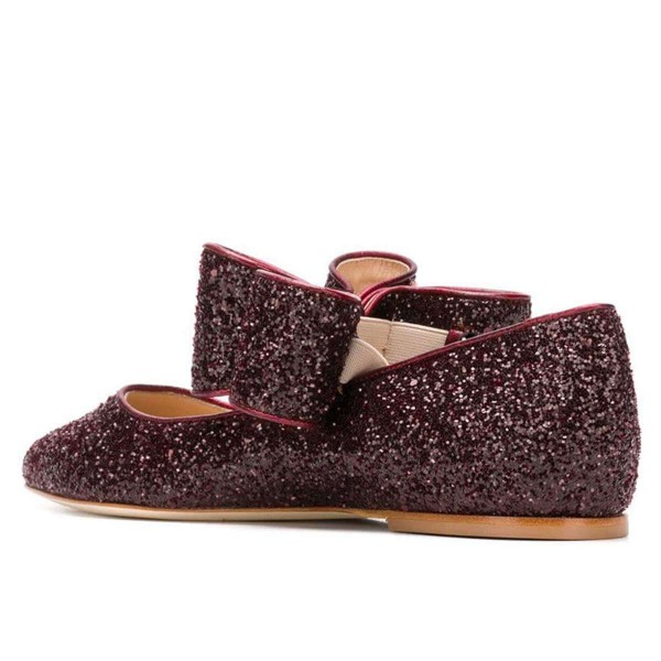 Brown Glitter Bow Pointy Toe Comfortable Flats  image 3