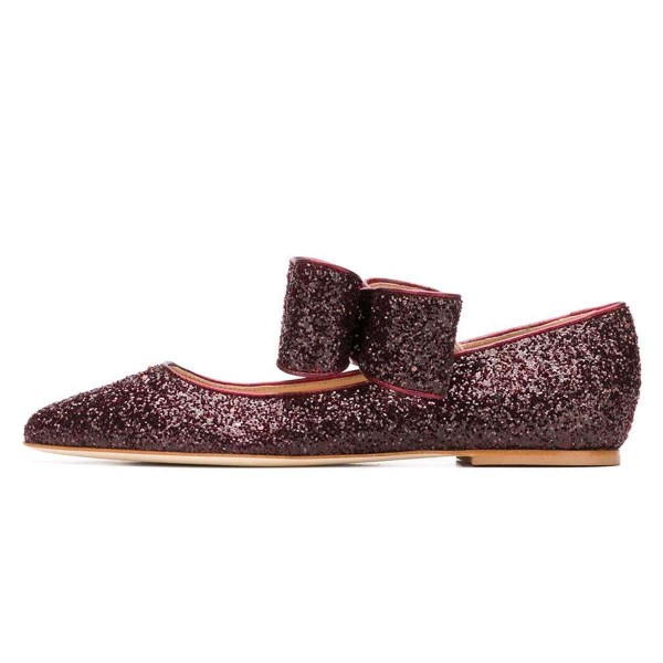 Brown Glitter Bow Pointy Toe Comfortable Flats  image 2