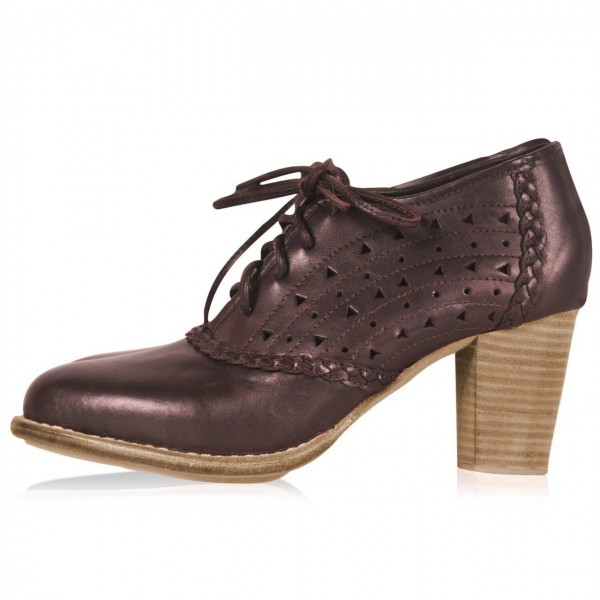 Brown Round Toe Oxford Heels Hollow out Lace up Vintage Shoes image 3