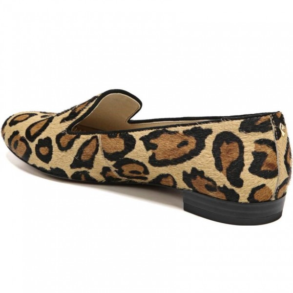 Brown Horsehair Leopard Print Loafers for Women image 3