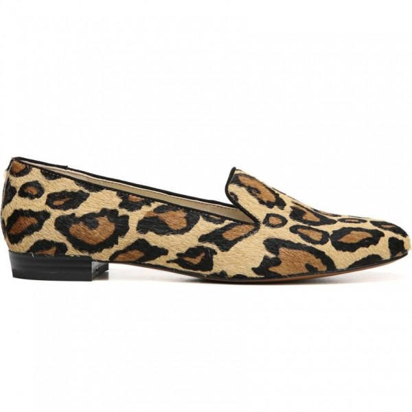 Brown Horsehair Leopard Print Loafers for Women image 2