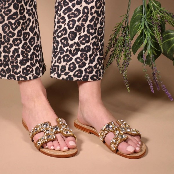 Brown Jeweled Sparkly Sandals Flat Summer Beach Flops image 2