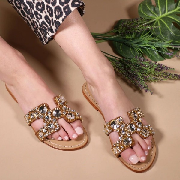 Brown Jeweled Sparkly Sandals Flat Summer Beach Flops image 1