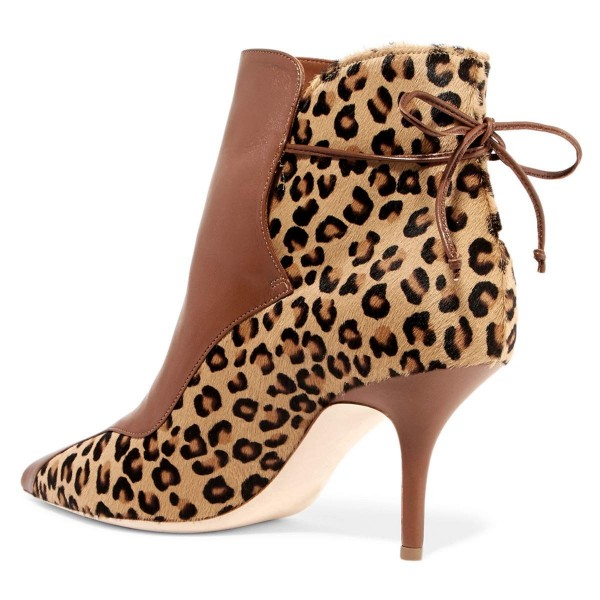 Brown and Leopard Booties Pointy Toe Back Laced Haircalf Ankle Boots image 3