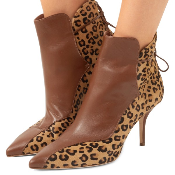 Brown and Leopard Booties Pointy Toe Back Laced Haircalf Ankle Boots image 1