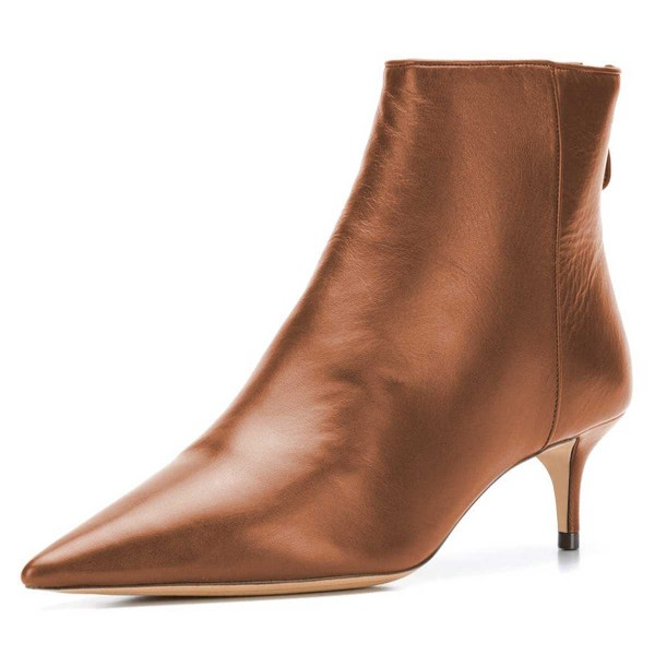 size 40 pick up new style Tan Kitten Heel Boots Pointy Toe Ankle Booties for Party, Night ...