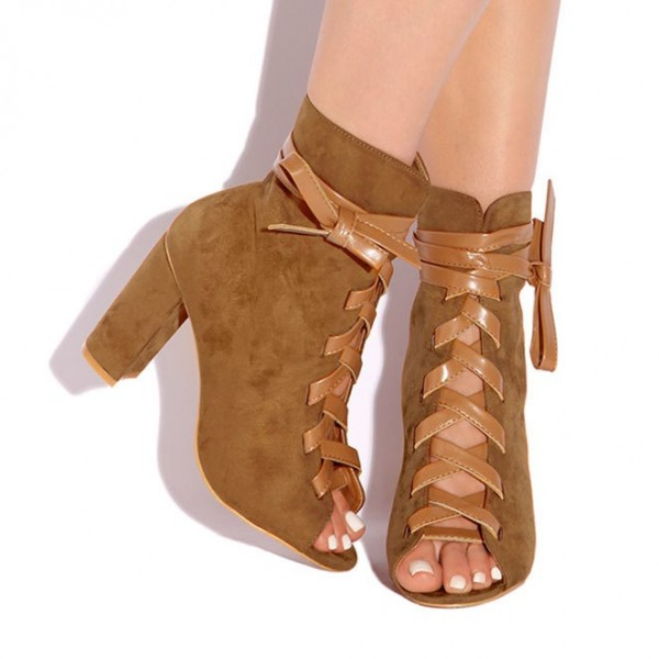 Brown Lace Up Boots Suede Peep Toe Ankle Boots Retro Chunky Heel Boots image 2