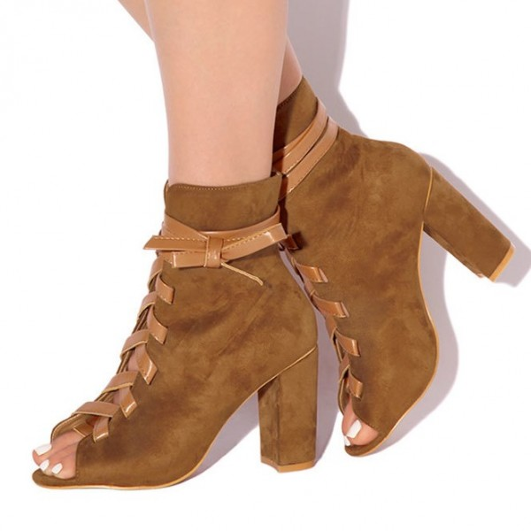 Brown Lace Up Boots Suede Peep Toe Ankle Boots Retro Chunky Heel Boots image 1
