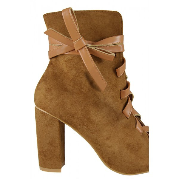 Brown Lace Up Boots Suede Peep Toe Ankle Boots Retro Chunky Heel Boots image 3