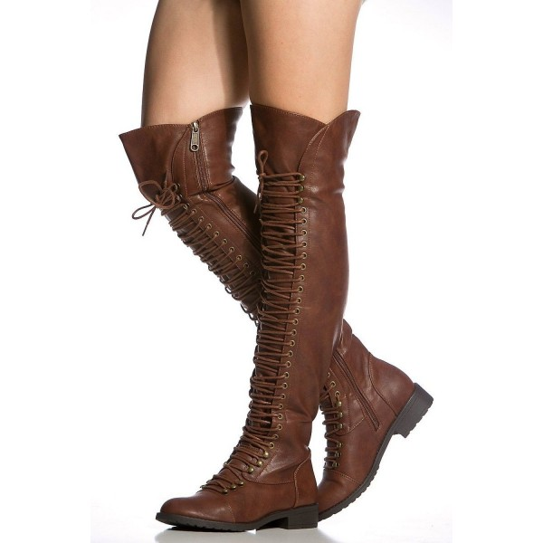 1562f0b0a72 Brown Lace up Boots Knee High Boots Round Toe Flat Fashion Boots image 1 ...