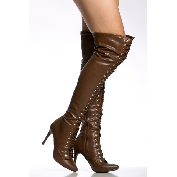 Dark Brown Long Boots Stiletto Heels Lace up Over-the-knee Boots image 2