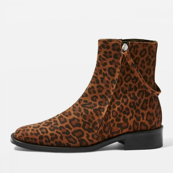 Brown Leopard Print Boots Flat Ankle Boots with Strap image 2