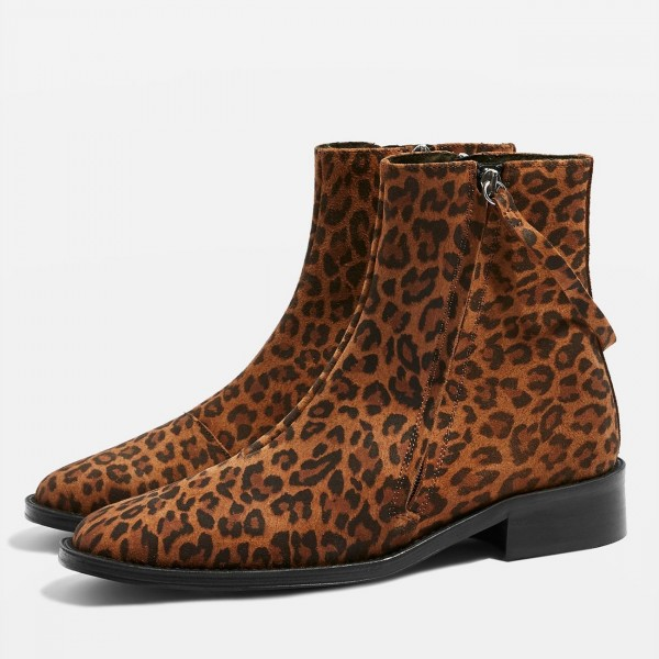 Brown Leopard Print Boots Flat Ankle Boots with Strap image 1