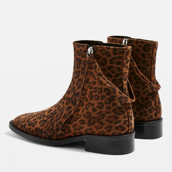 Brown Leopard Print Boots Flat Ankle Boots with Strap image 4