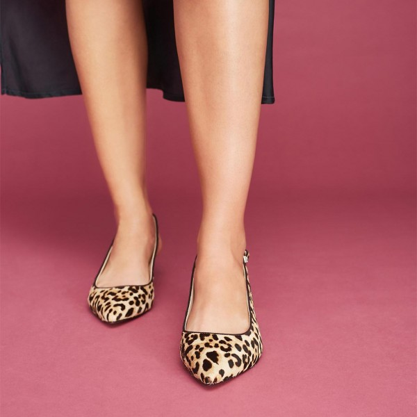 Brown Leopard Print Heels Pointy Toe Kitten Heels Slingback Pumps image 2