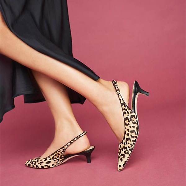 Brown Leopard Print Heels Pointy Toe Kitten Heels Slingback Pumps image 1
