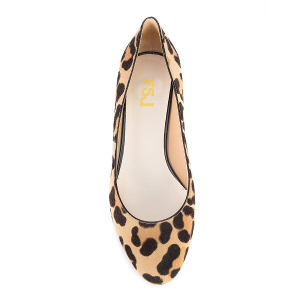 Brown Leopard Print Heels Round Toe Chunky Heels Suede Shoes image 2
