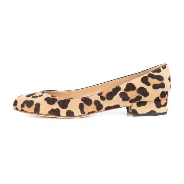 Brown Leopard Print Heels Round Toe Chunky Heels Suede Shoes image 3