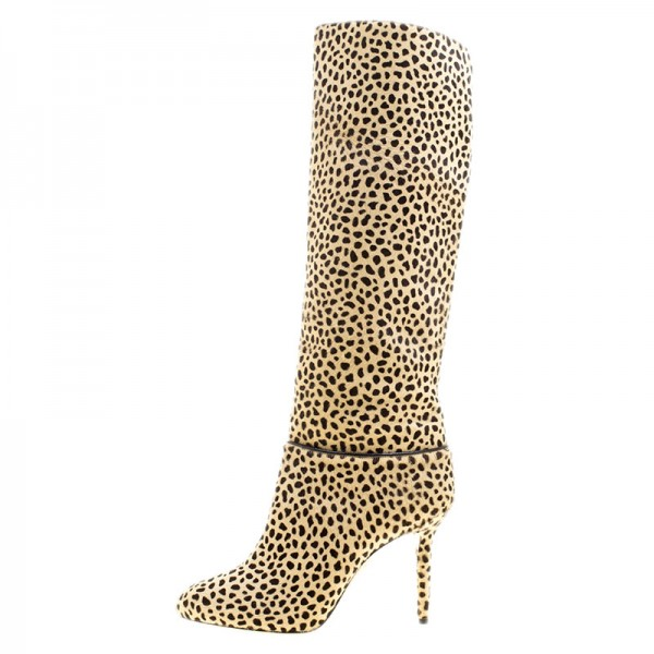 Khaki Leopard Print Stiletto Heels Long Boots Round Toe Knee Boots image 2