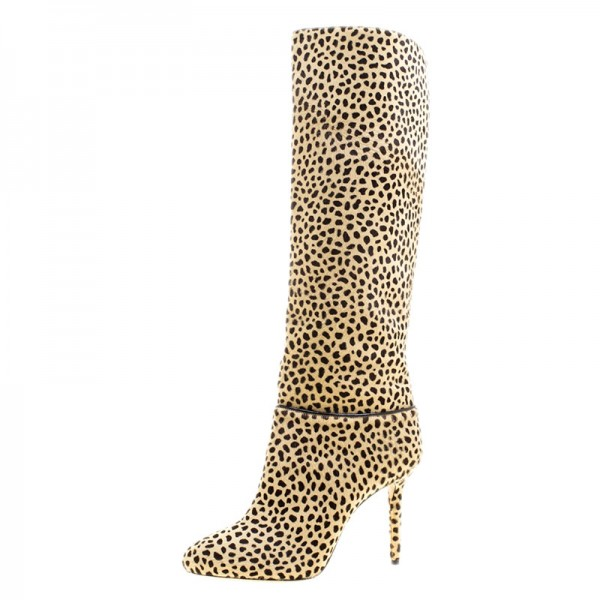 Khaki Leopard Print Stiletto Heels Long Boots Round Toe Knee Boots image 3