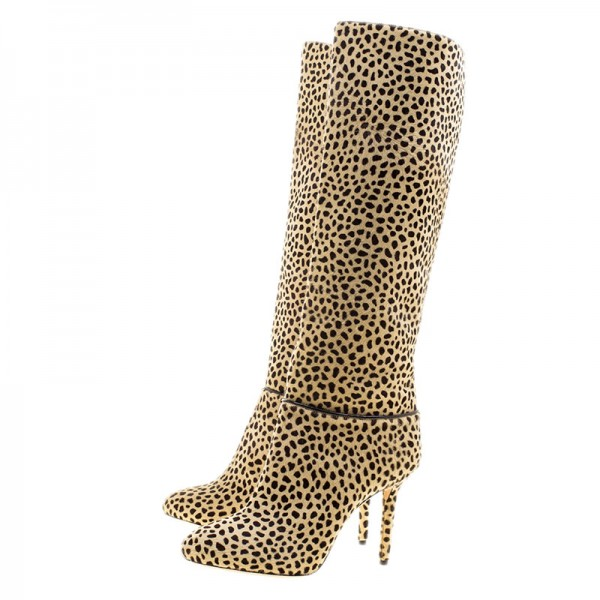 Khaki Leopard Print Stiletto Heels Long Boots Round Toe Knee Boots image 1