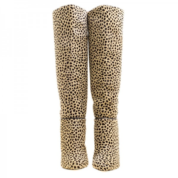 Khaki Leopard Print Stiletto Heels Long Boots Round Toe Knee Boots image 4