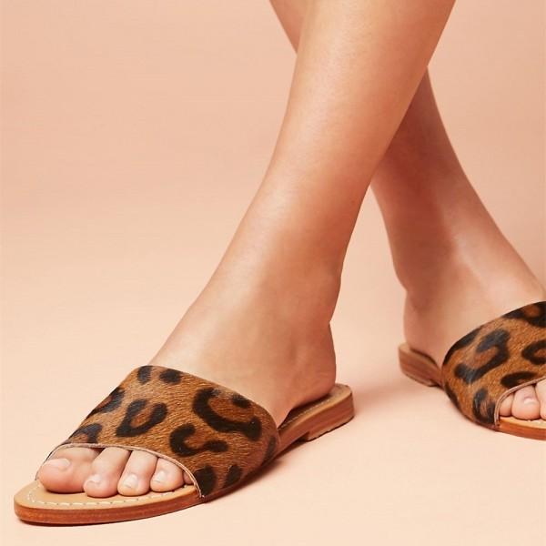 Tan Leopard Women's Slide Sandals Open Toe Summer Flat Slides Shoes image 1