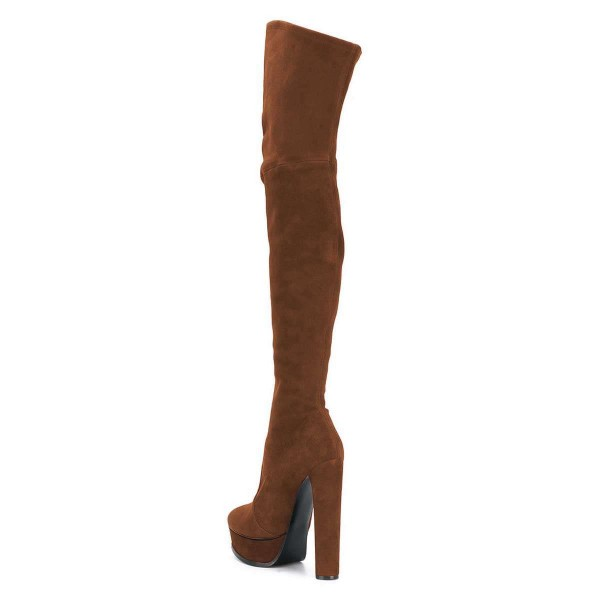 Brown Long Boots Suede Thigh-high Platform Boots for Women image 3