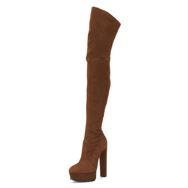 Brown Long Boots Suede Thigh-high Platform Boots for Women image 1