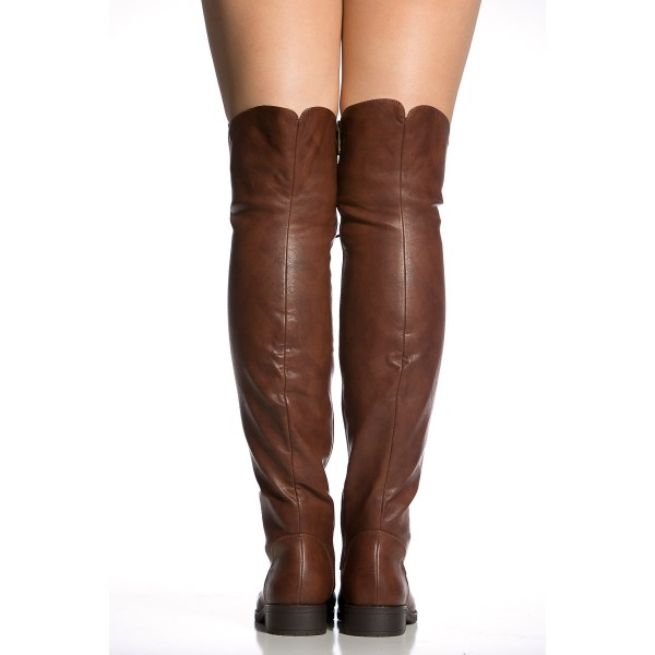 Brown Lace up Boots Knee High Boots Round Toe Flat Fashion Boots image 2