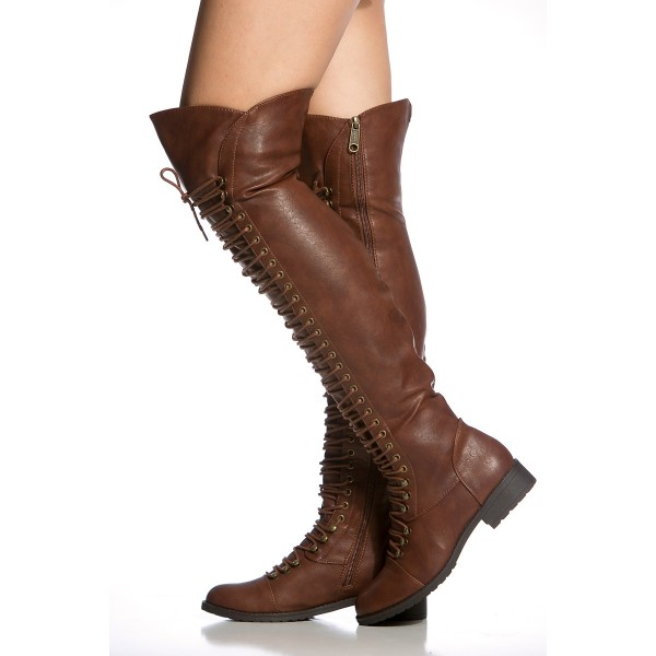 Brown Lace up Boots Knee High Boots Round Toe Flat Fashion Boots image 3