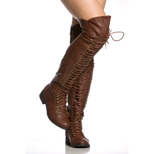 Brown Lace up Boots Knee High Boots Round Toe Flat Fashion Boots image 4