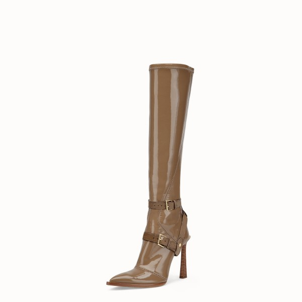 Brown Patent Leather Fashion Boots Chunky Heel Boots image 1