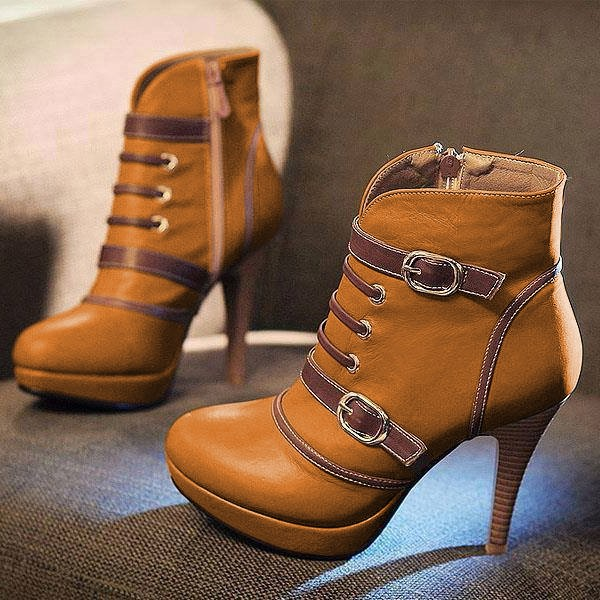 Tan Platform Boots Round Toe Ankle Booties with Buckles US Size 3-15 image 1
