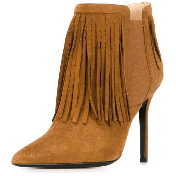 Brown Pointed Toe Stiletto Heel Vintage Chelsea Boots with Fringe image 1
