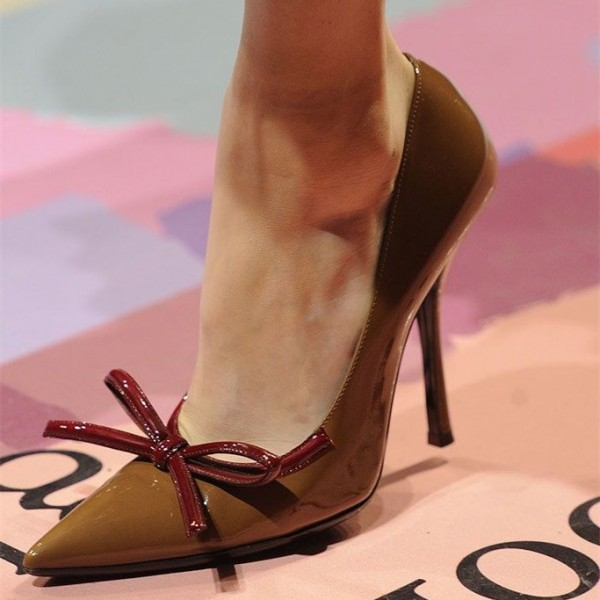 Brown Pointy Toe Bow Heels Original Stiletto Heel Pumps image 1