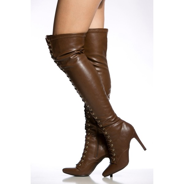 Dark Brown Long Boots Stiletto Heels Lace up Over-the-knee Boots image 4