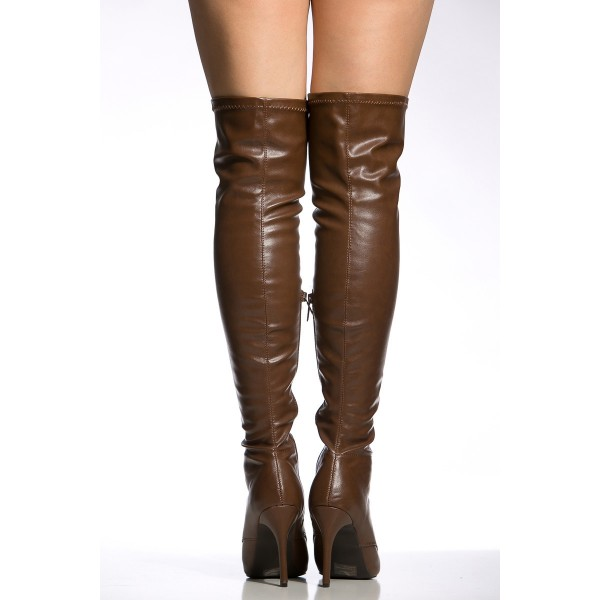 Dark Brown Long Boots Stiletto Heels Lace up Over-the-knee Boots image 5