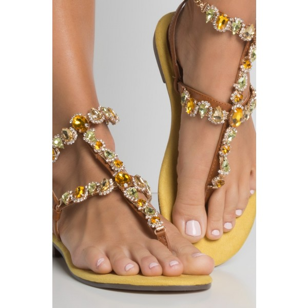 classic fit pretty cool nice cheap Brown Rhinestone Gladiator Sandals Comfortable Beach Sandals for ...