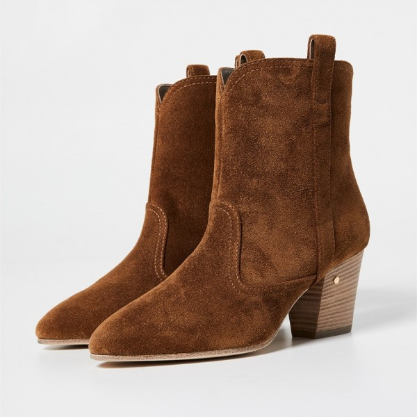 Brown Round Toe Block Heels Boots Vintage Ankle Booties image 1